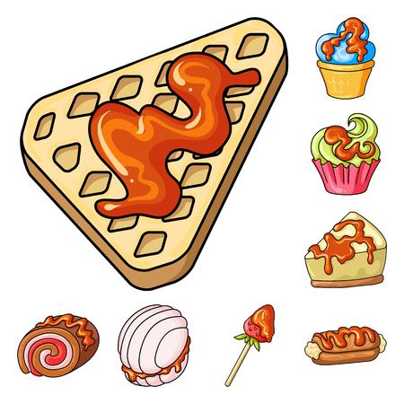 Vector design of dessert and sweet logo. Set of dessert and food stock vector illustration. Иллюстрация