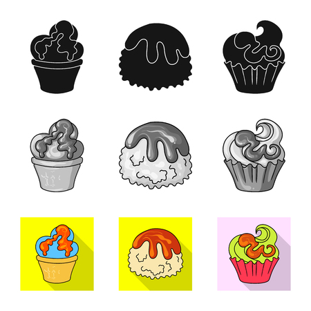 Vector illustration of confectionery and culinary icon. Set of confectionery and product stock vector illustration. Векторная Иллюстрация