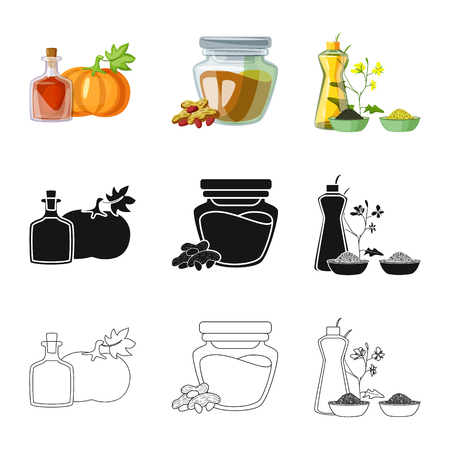 Vector design of healthy  and vegetable. Collection of healthy  and agriculture stock vector illustration. Ilustração