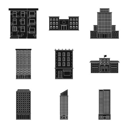 Vektordesign des modernen und Immobiliensymbols. Satz moderne und Gebäudevektorikone für Vorrat. Vektorgrafik