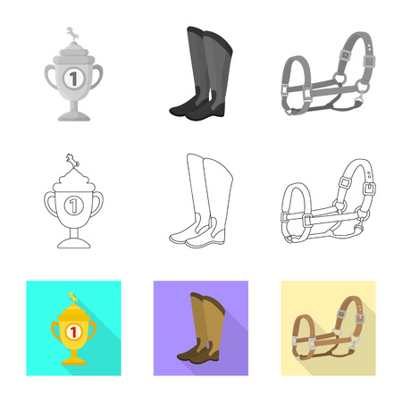 Vector design of equipment and riding sign. Set of equipment and competition stock symbol for web.