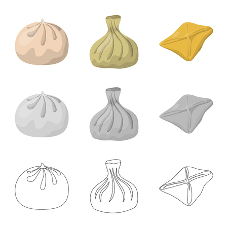 Isolated object of products  and cooking icon. Collection of products  and appetizer stock symbol for web. Illustration