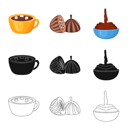 Vector design of food and yummy sign. Set of food and brown stock vector illustration.