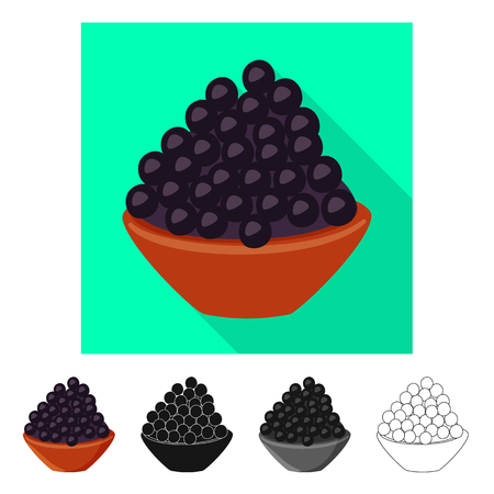 Vector illustration of caviar  and black sign. Collection of caviar  and fish vector icon for stock. Ilustração