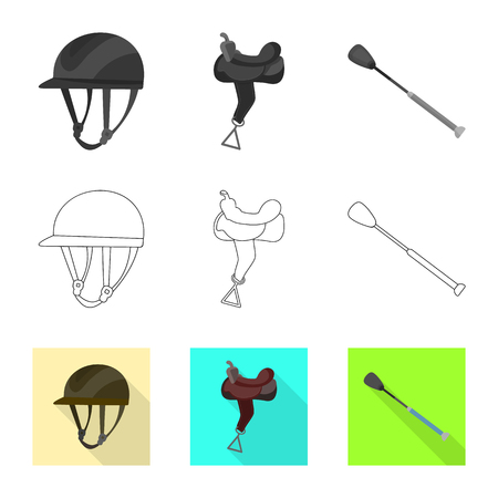 Vector design of equipment and riding icon. Set of equipment and competition stock vector illustration.