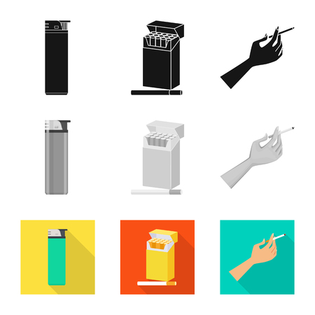 Isolated object of refuse and stop icon. Set of refuse and habit vector icon for stock. Illustration