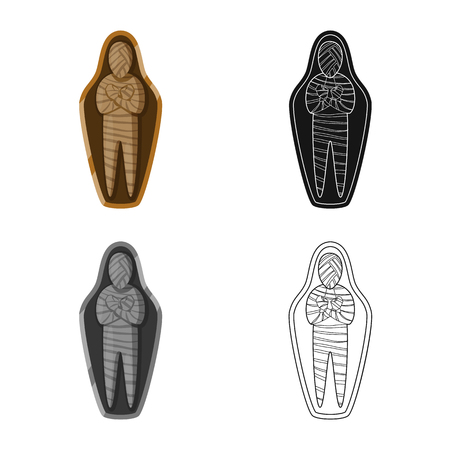 Vector design of mummy and ancient sign. Collection of mummy and afterlife vector icon for stock.