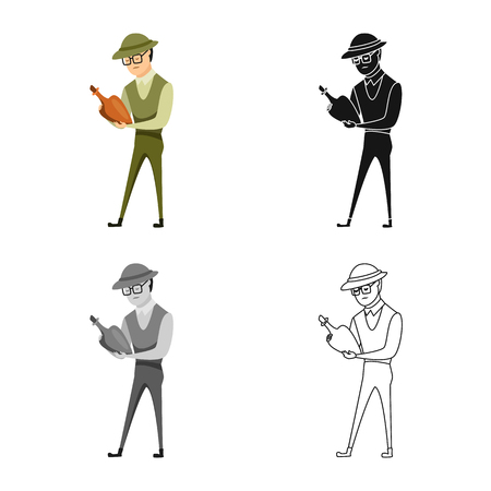 Vector design of archaeologist  and human logo. Collection of archaeologist  and seeker  vector icon for stock. Vettoriali