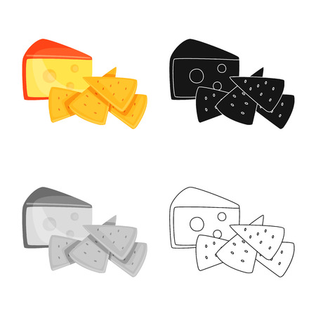 Vector design of cracker and appetizer  icon. Set of cracker and lactic vector icon for stock. Иллюстрация
