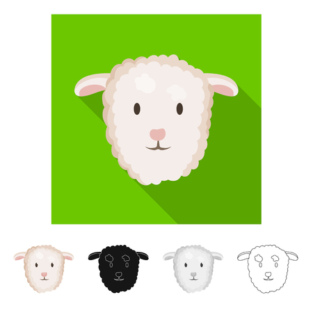 Vector illustration of cow and face. Collection of cow and animal stock symbol for web. Imagens - 122081648