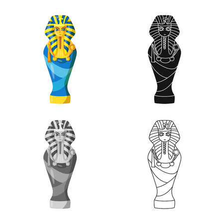 Vector illustration of sarcophagus and pharaoh icon. Collection of sarcophagus and tomb vector icon for stock.