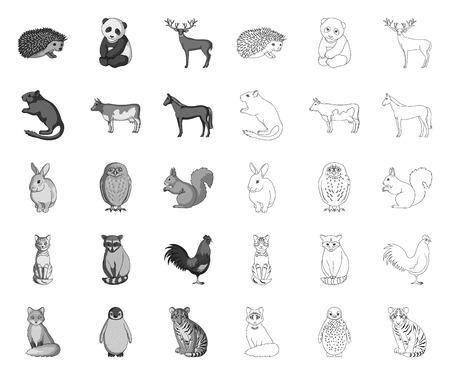 Animaux réalistes mono,icônes de contour dans la collection de jeu pour la conception. Animaux sauvages et domestiques vecteur symbole stock illustration web.