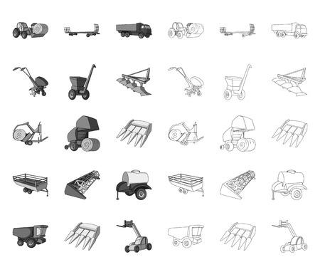 Macchine agricole mono,contorno icone nella raccolta di set per il design. Attrezzature e dispositivo simbolo d'archivio web di vettore.