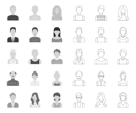 Avatar and face mono,outline icons in set collection for design. A persons appearance vector symbol stock web illustration.