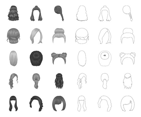 Female hairstyle mono,outline icons in set collection for design. Stylish haircut vector symbol stock web illustration. Иллюстрация