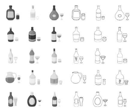 Types of alcohol mono,outline icons in set collection for design. Alcohol in bottles vector symbol stock web illustration.