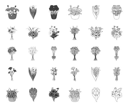 A bouquet of fresh flowers mono,outline icons in set collection for design. Various bouquets vector symbol stock web illustration. Vetores