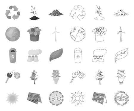 Bio and ecology mono,outline icons in set collection for design. An ecologically pure product vector symbol stock web illustration.