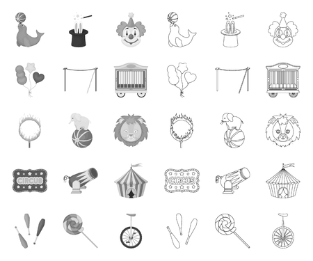 Circus and attributes mono,outline icons in set collection for design. Circus Art vector symbol stock web illustration.