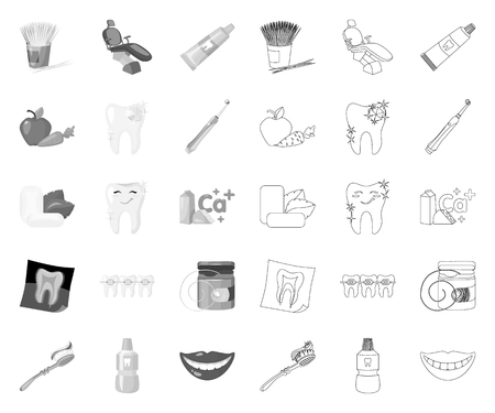 Dental care mono,outline icons in set collection for design. Care of teeth vector symbol stock web illustration. Illustration