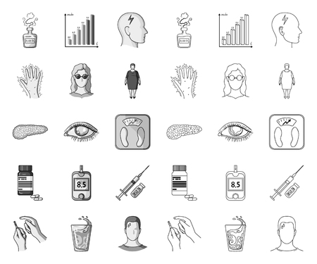 Diabetes mono,outline icons in set collection for design. Treatment of diabetes vector symbol stock web illustration. Иллюстрация