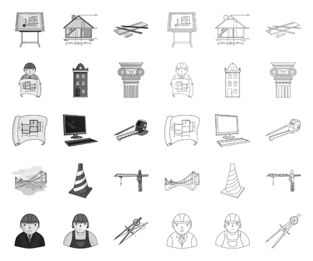 Architecture and construction mono,outline icons in set collection for design. Architect and equipment vector symbol stock web illustration.
