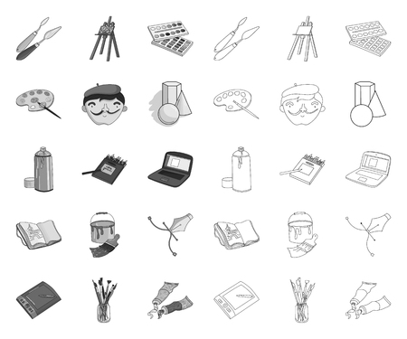 Painter and drawing mono,outline icons in set collection for design. Artistic accessories vector symbol stock web illustration. Ilustração