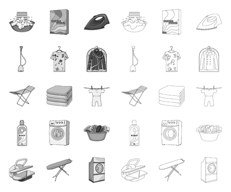 Dry cleaning equipment mono,outline icons in set collection for design. Washing and ironing clothes vector symbol stock web illustration.
