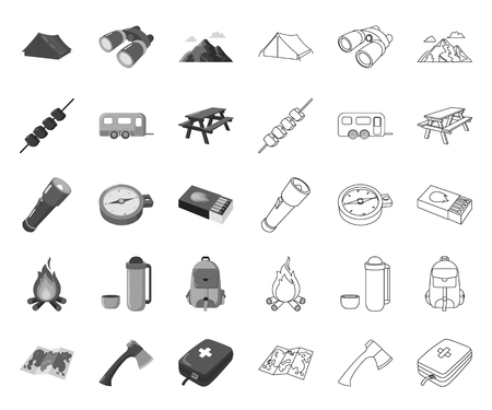 Rest in the camping mono,outline icons in set collection for design. Camping and equipment vector symbol stock web illustration.