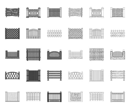 Different fence mono,outline icons in set collection for design.Decorative fencing vector symbol stock web illustration. Illustration