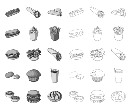 Fast food mono,outline icons in set collection for design.Food from semi-finished products vector symbol stock web illustration. Illusztráció