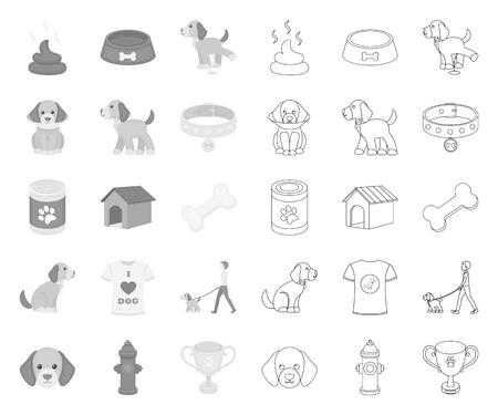 Pet dog mono,outline icons in set collection for design. Caring for the puppy vector symbol stock web illustration.
