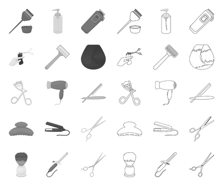 Hairdresser and tools mono,outline icons in set collection for design.Profession hairdresser vector symbol stock web illustration. Illusztráció