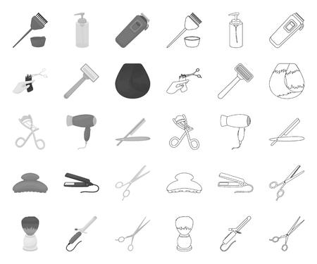 Parrucchiere e strumenti mono,contorno icone in insieme di set per il disegno. Professione parrucchiere simbolo d'archivio web di vettore.