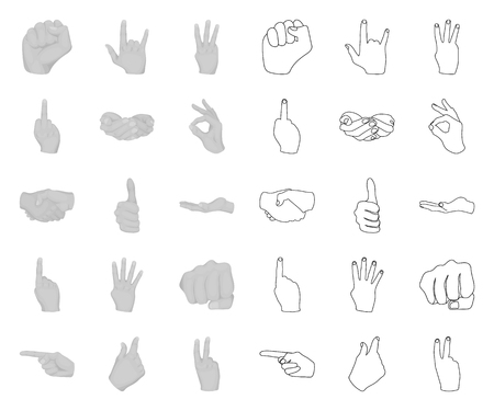 Hand gesture mono,outline icons in set collection for design. Palm and finger vector symbol stock web illustration. Illustration