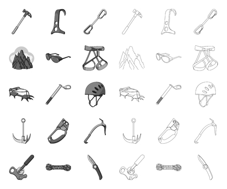 Mountaineering and climbing mono,outline icons in set collection for design. Equipment and accessories vector symbol stock web illustration.