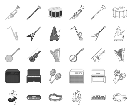Musical instrument mono,outline icons in set collection for design. String and Wind instrument vector symbol stock web illustration. Illustration