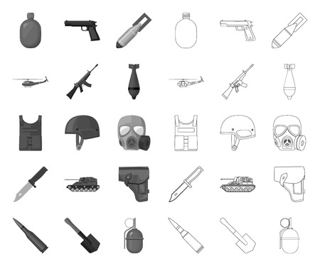 Army and armament mono,outline icons in set collection for design. Weapons and equipment vector symbol stock web illustration.