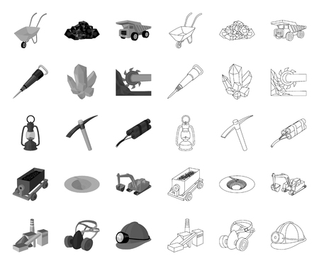 Mining industry mono,outline icons in set collection for design. Equipment and tools vector symbol stock web illustration.