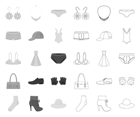 Clothes and accessories mono,outline icons in set collection for design. Shoes and decoration vector symbol stock illustration.