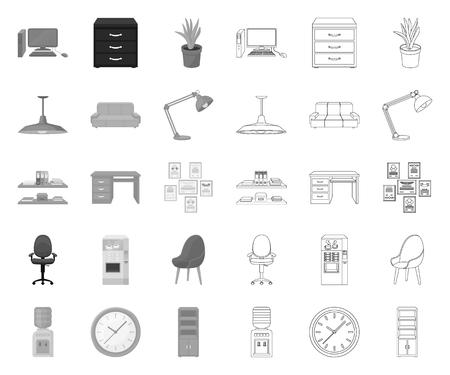 Intérieur du lieu de travail mono,contour des icônes dans la collection de jeu pour la conception. Illustration de stock de symbole de vecteur de mobilier de bureau.