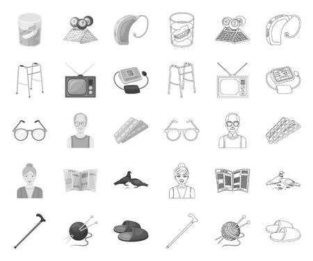 Human old age mono,outline icons in set collection for design. Pensioner, period of life vector symbol stock web illustration.