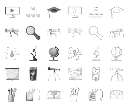 Vector design of education and learning symbol. Set of education and school stock symbol for web. Vektoros illusztráció