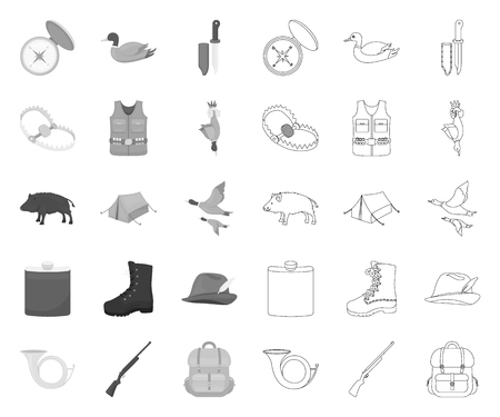 Hunting and trophy mono,outline icons in set collection for design. Hunting and equipment vector symbol stock web illustration.