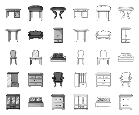 Furniture and interior mono,outline icons in set collection for design.Home furniture vector symbol stock web illustration.