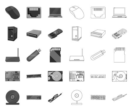 Personal computer mono,outline icons in set collection for design. Equipment and accessories vector symbol stock web illustration.