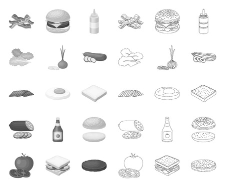 Burger and ingredients mono,outline icons in set collection for design. Burger cooking vector symbol stock web illustration.