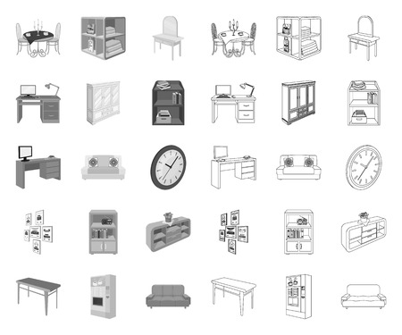 Furniture and interior mono,outline icons in set collection for design. Home furnishings vector isometric symbol stock web illustration.