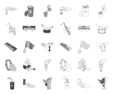 Manipulation by hands mono,outline icons in set collection for design. Hand movement vector symbol stock web illustration. Ilustracja