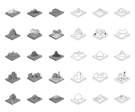 Mountains, massive mono,outline icons in set collection for design. The surface of the earth vector isometric symbol stock web illustration.